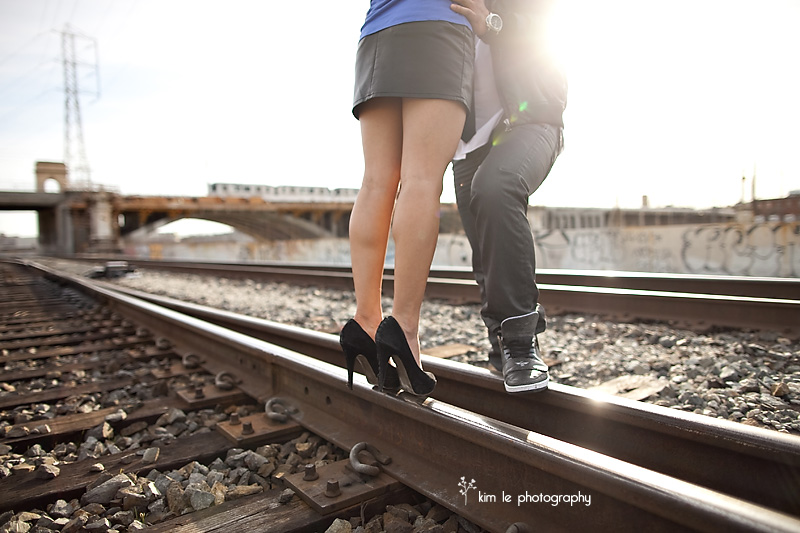 downtown los angeles engagement session by kim le photography