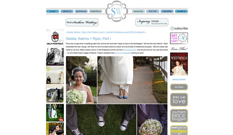 katrina and ryan feature on southern weddings blog by kim le photography