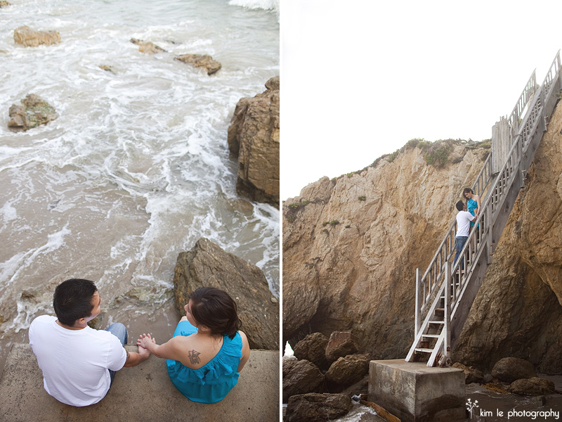 malibu beach engagement by kim le photography
