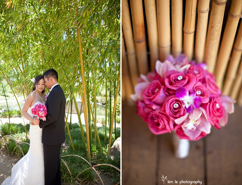 los angeles japanese garden ceremony wedding by kim le photography